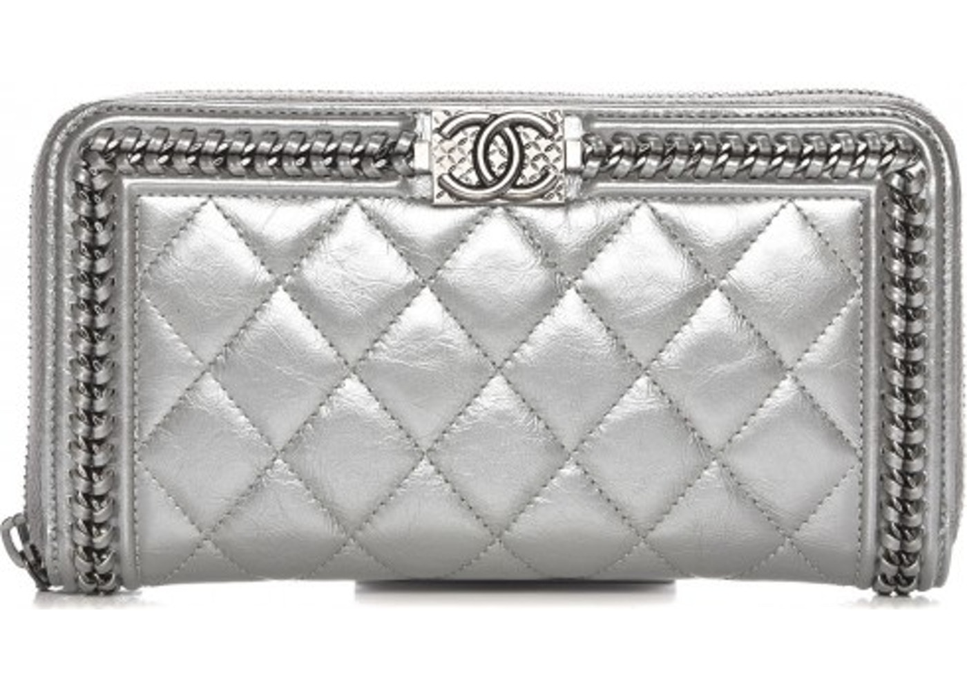 fa1c876e1469 Chanel Gusset Zip Around Boy Wallet Diamond Quilted Large Metallic Silver. Diamond  Quilted Large Metallic Silver