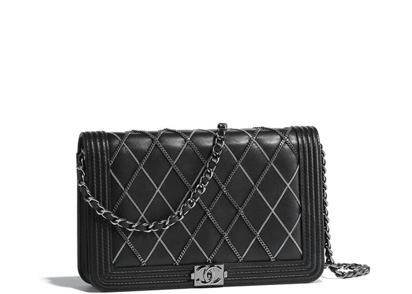 5e29d9e36ac18e Chanel Boy Wallet On Chain Diamond Chains Lambskin Ruthenium/Silver-tone  Black