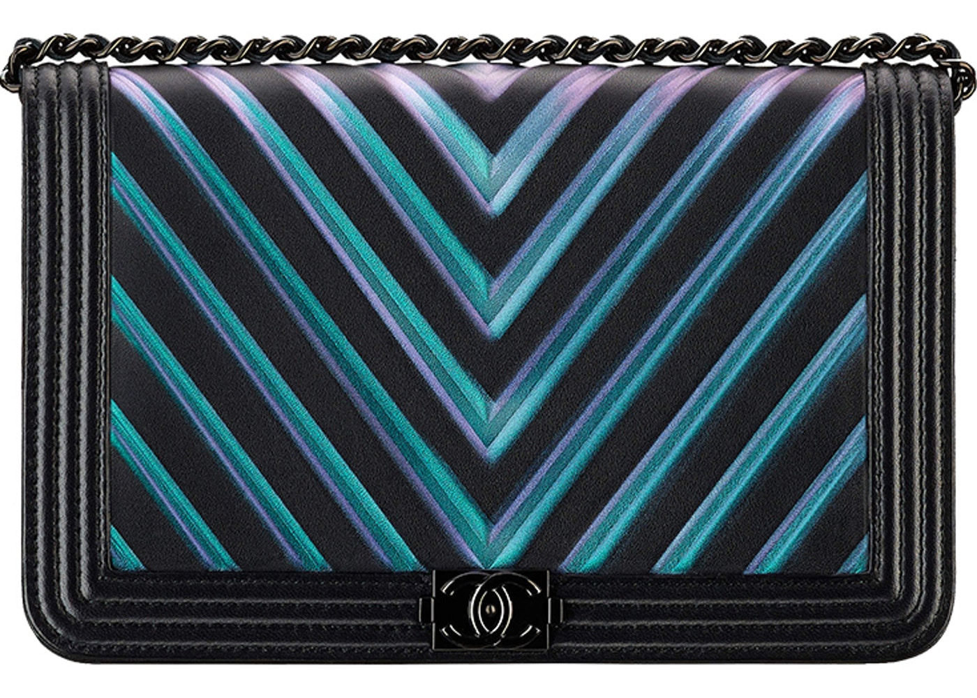 433a84efcd08e0 Sell. or Ask. View All Bids. Chanel Boy Wallet on Chain Painted Embossed Chevron  Black/Blue