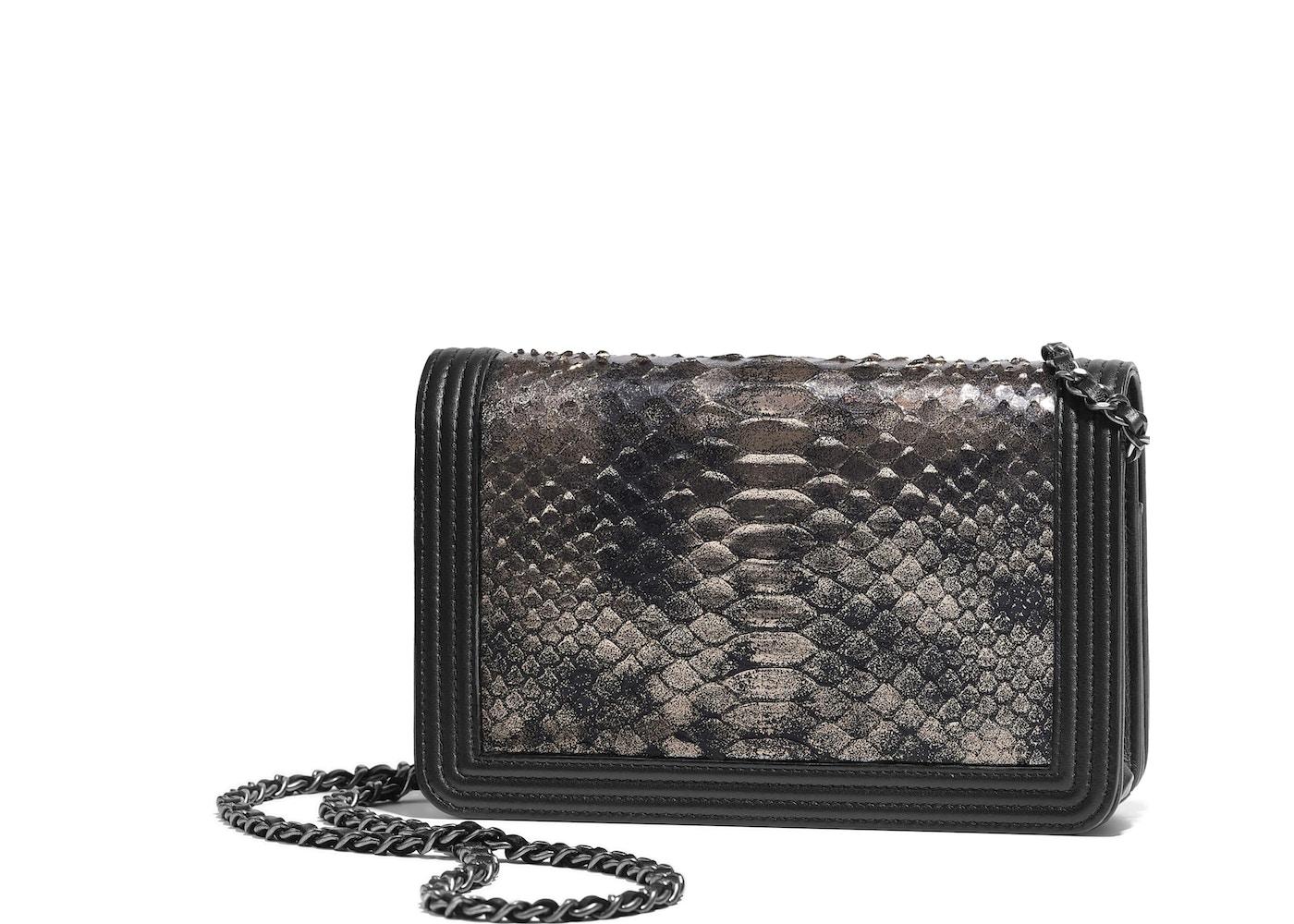 0f10473ec454 Chanel Boy Wallet On Chain Python Ruthenium-tone Silver/Black