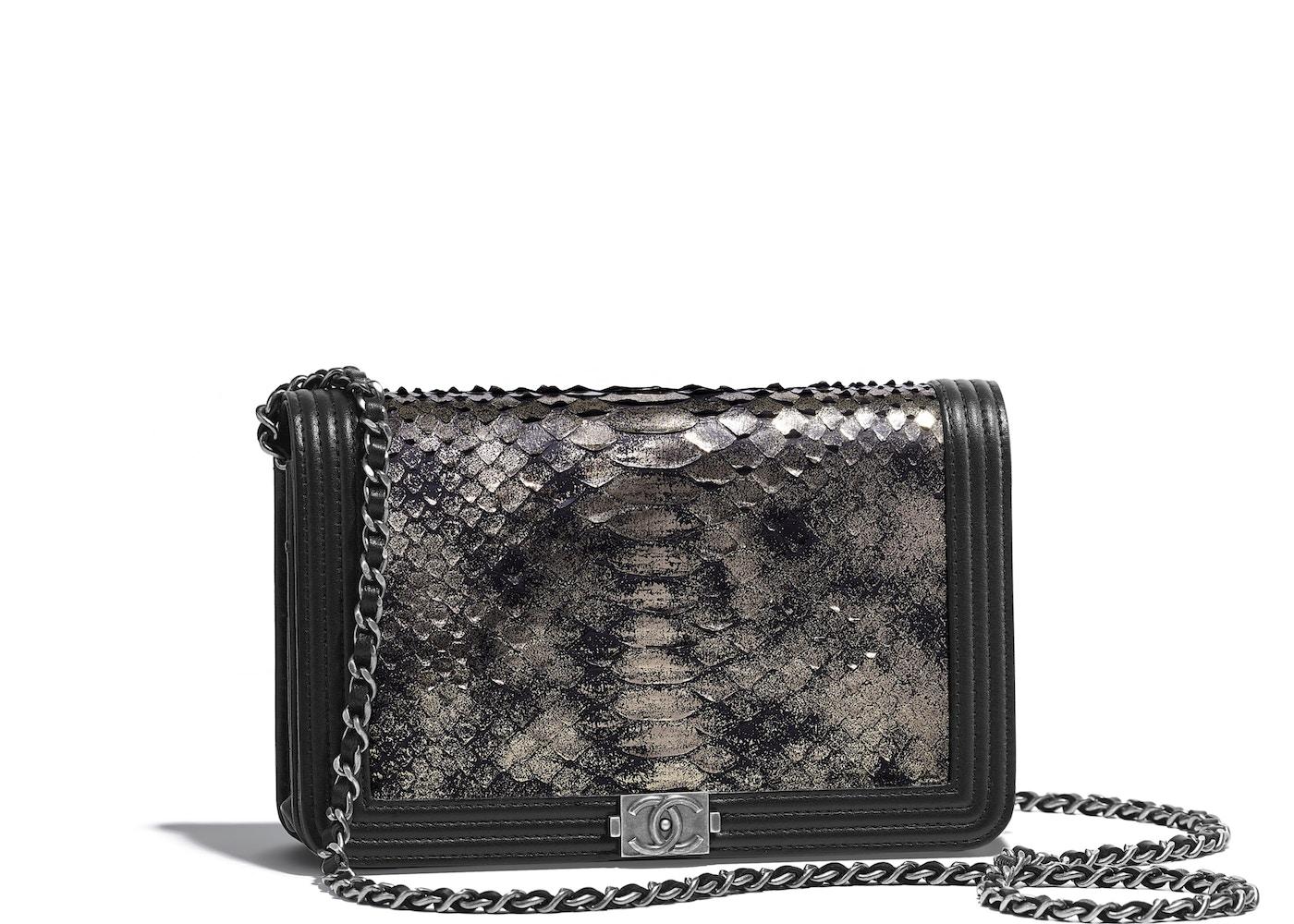 1923409efaed Chanel Boy Wallet On Chain Python Ruthenium-tone Silver/Black. Python  Ruthenium-tone Silver/Black