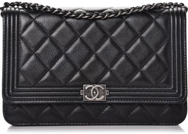 c7261f1a3d2e Chanel Boy Wallet On Chain Quilted Calfskin Ruthenium-tone Black