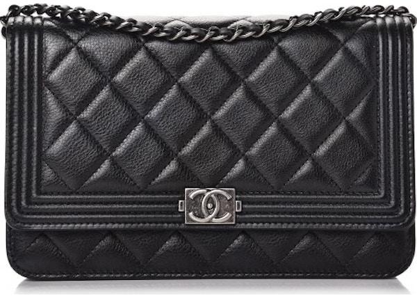 b0c0026cc32b Chanel Boy Wallet On Chain Quilted Calfskin Ruthenium-tone Black