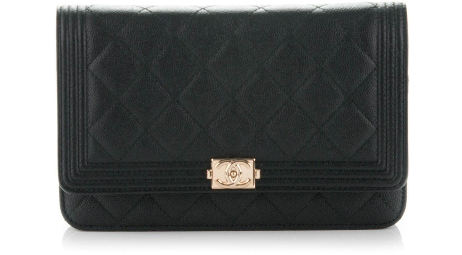 Chanel Boy Wallet On Chain Quilted  Black