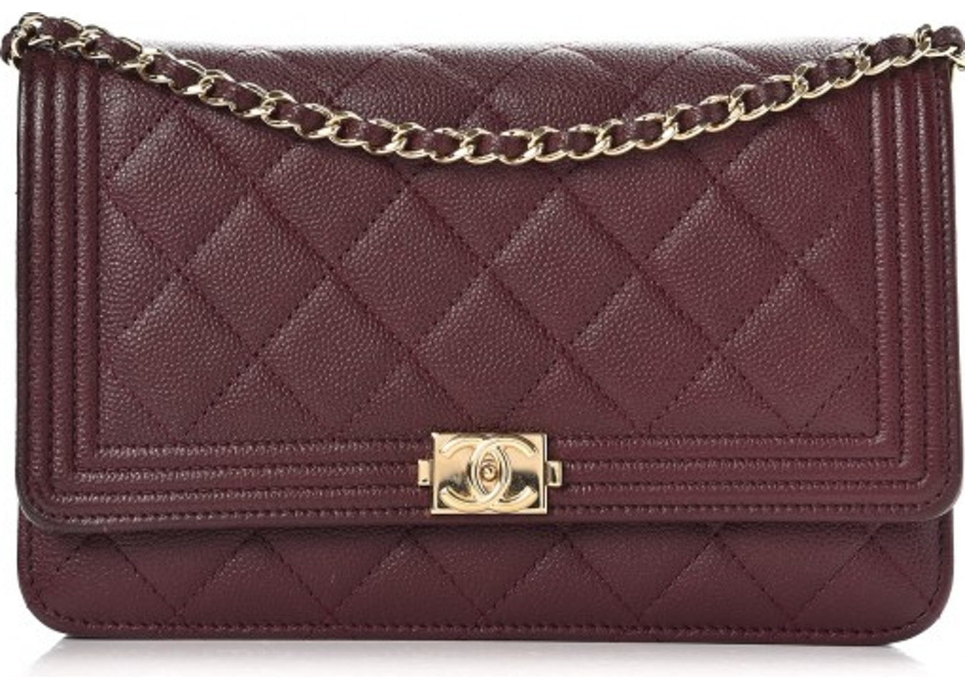 d5318919b665f8 Chanel Boy Wallet On Chain Quilted Diamond Dark Purple. Quilted Diamond  Dark Purple
