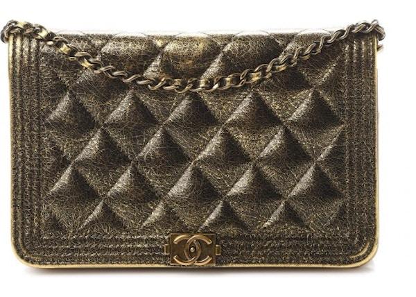 fcbd9e478a9b85 Chanel Boy Wallet On Chain Quilted Metallic Calfskin Aged Gold-tone Gold