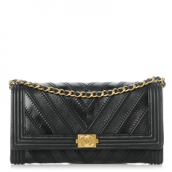 Chanel Boy Wallet On Removable Chain Quilted Chevron Black