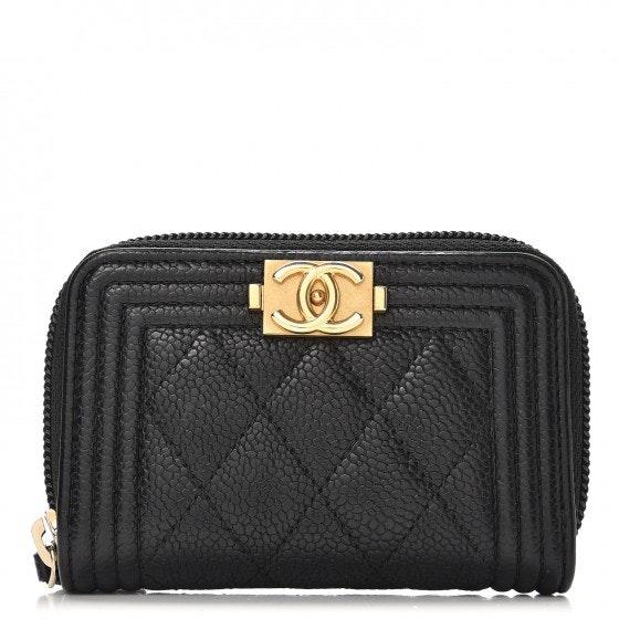 Chanel Boy Zip Around Coin Purse Wallet Quilted Diamond Black