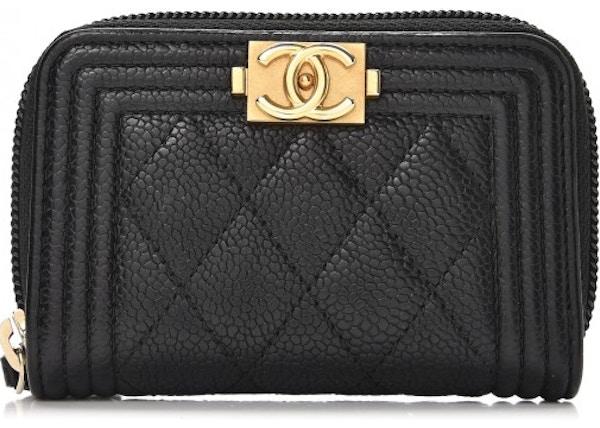 ee469588f1bd Chanel Boy Zip Around Coin Purse Wallet Quilted Diamond Black
