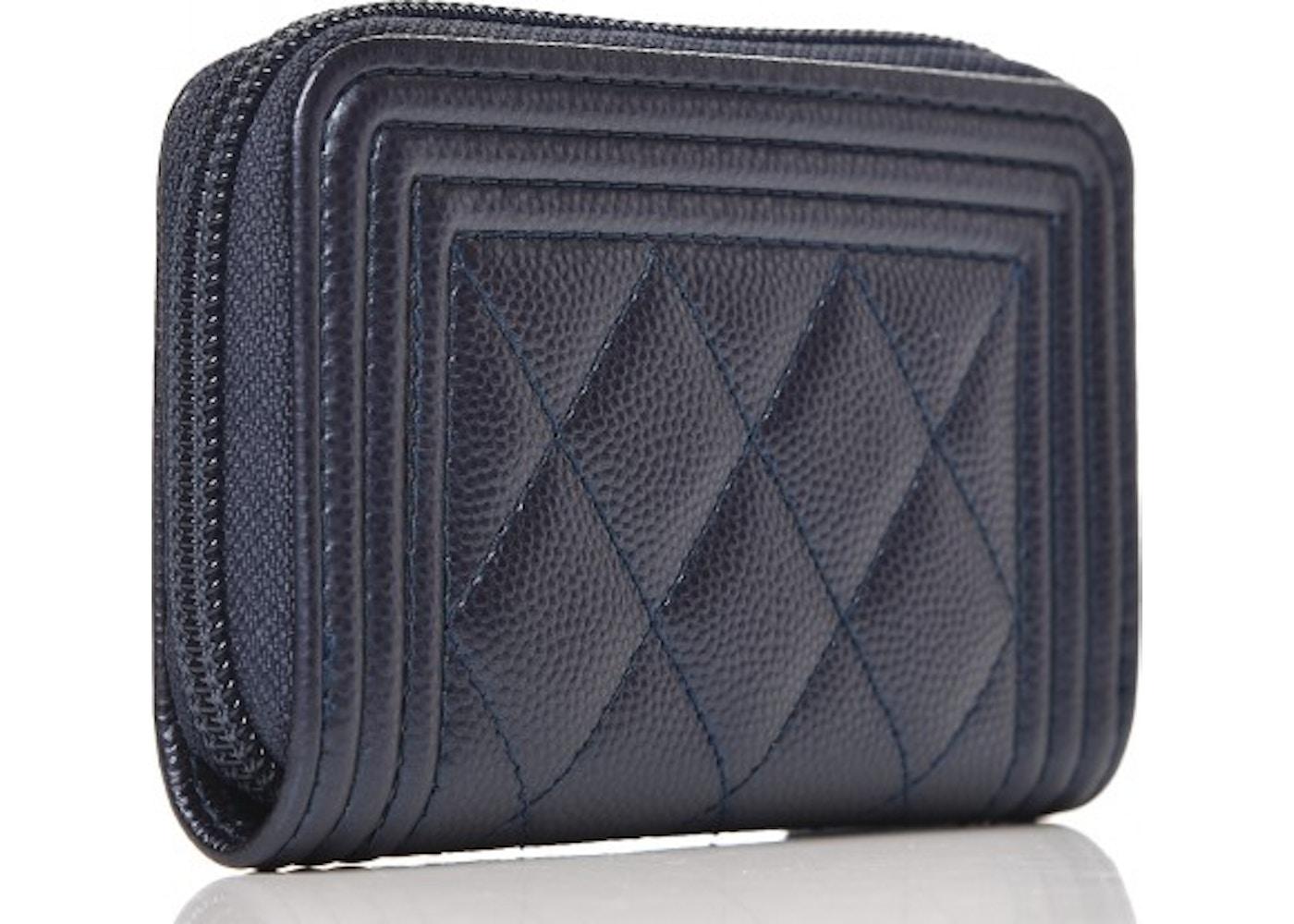 a5840a42018b85 Chanel Boy Zip Around Coin Purse Wallet Quilted Diamond Metallic Dark Blue