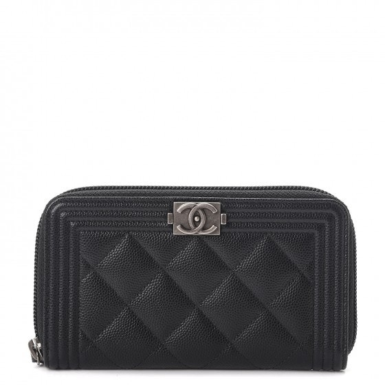 Chanel Boy Zip Around Wallet Quilted Caviar Small Black