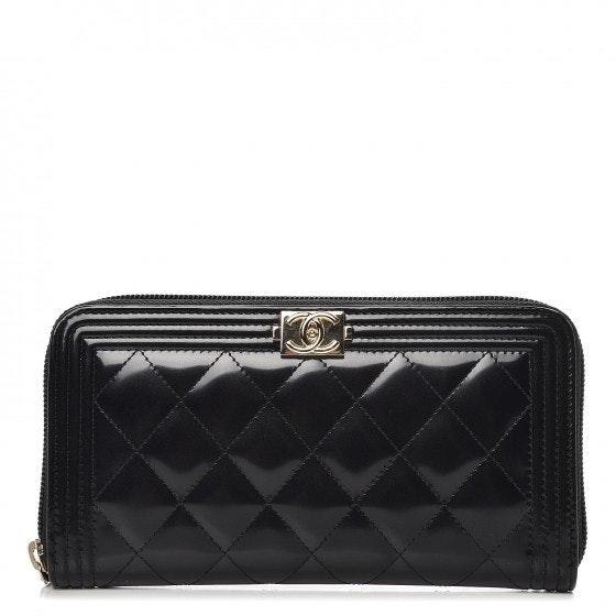 Chanel Boy Zip Around Wallet Quilted Diamond Glazed Black