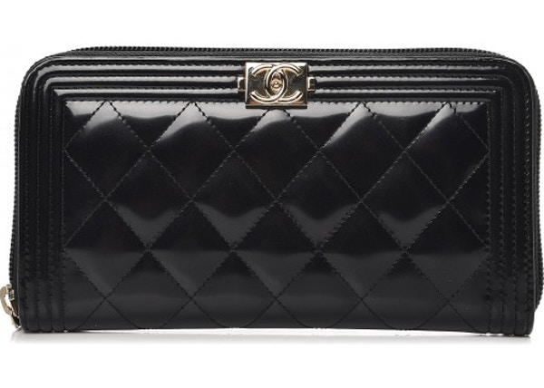 1ef140a92df0 Chanel Boy Zip Around Wallet Quilted Diamond Glazed Black