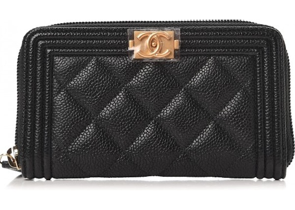 9341d1b1dd73dd Chanel Boy Zip Around Wallet Quilted Diamond Small Black