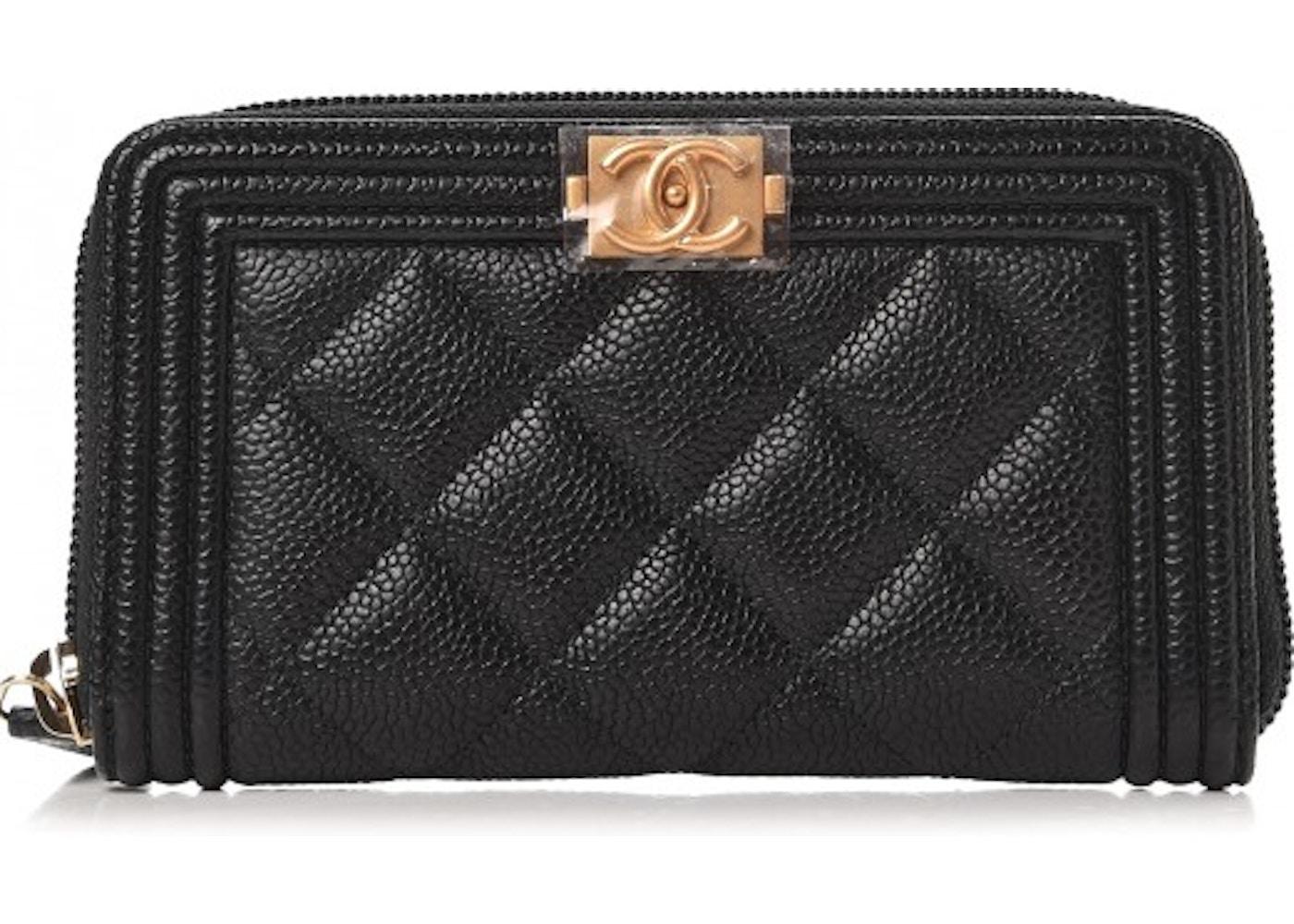 7dc6cc1fae0ae7 Chanel Boy Zip Around Wallet Quilted Diamond Small Black. Quilted Diamond  Small Black