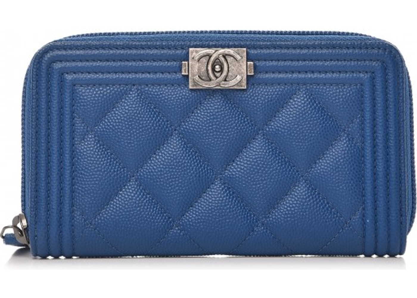 60645bcdacd2 Chanel Boy Zip Around Wallet Quilted Diamond Small Blue. Quilted Diamond  Small Blue