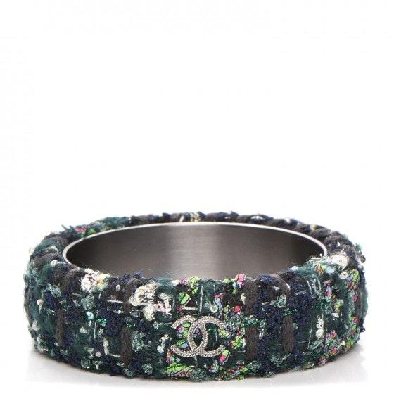 Chanel Cuff Bracelet Tweed CC M Black