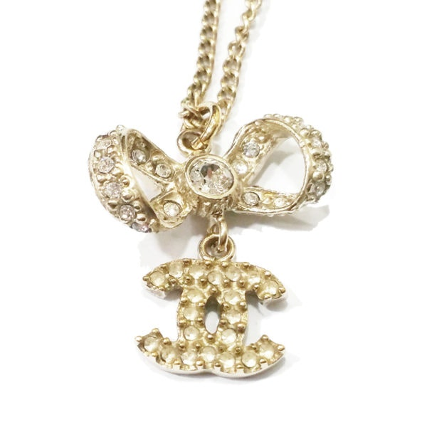 Chanel CC Bow Necklace Gold