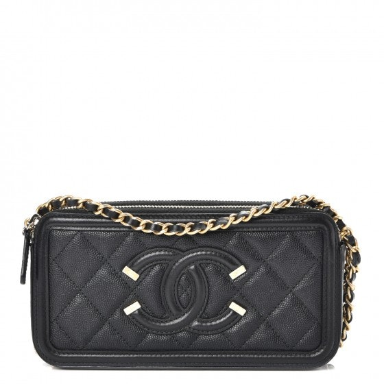 Chanel CC Filigree Clutch With Chain Quilted Diamond Black