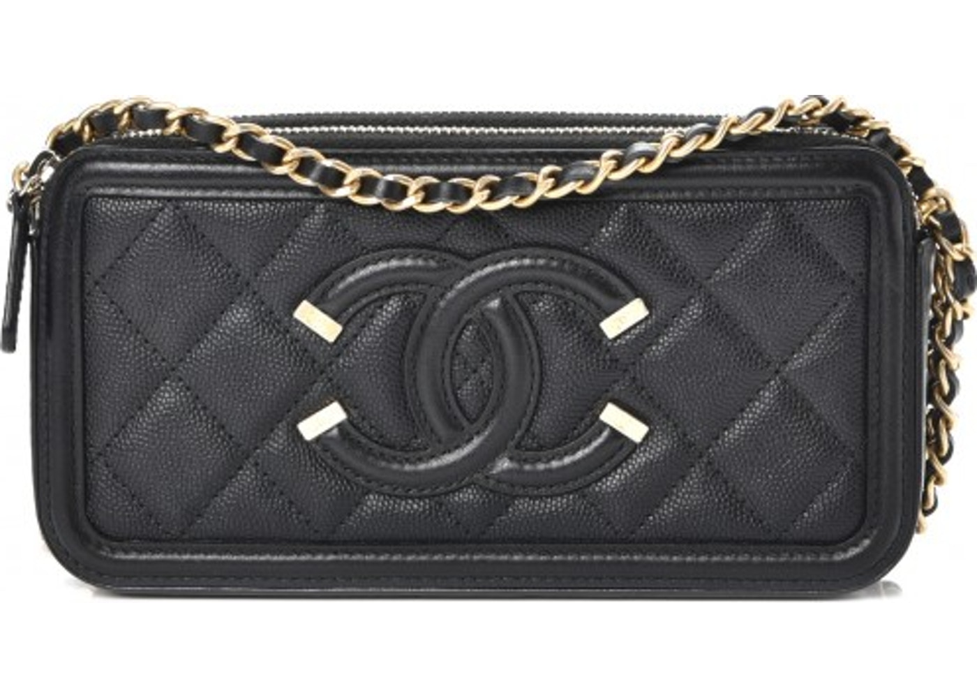 c615146b19a6eb Chanel CC Filigree Clutch With Chain Quilted Diamond Black. Quilted Diamond  Black