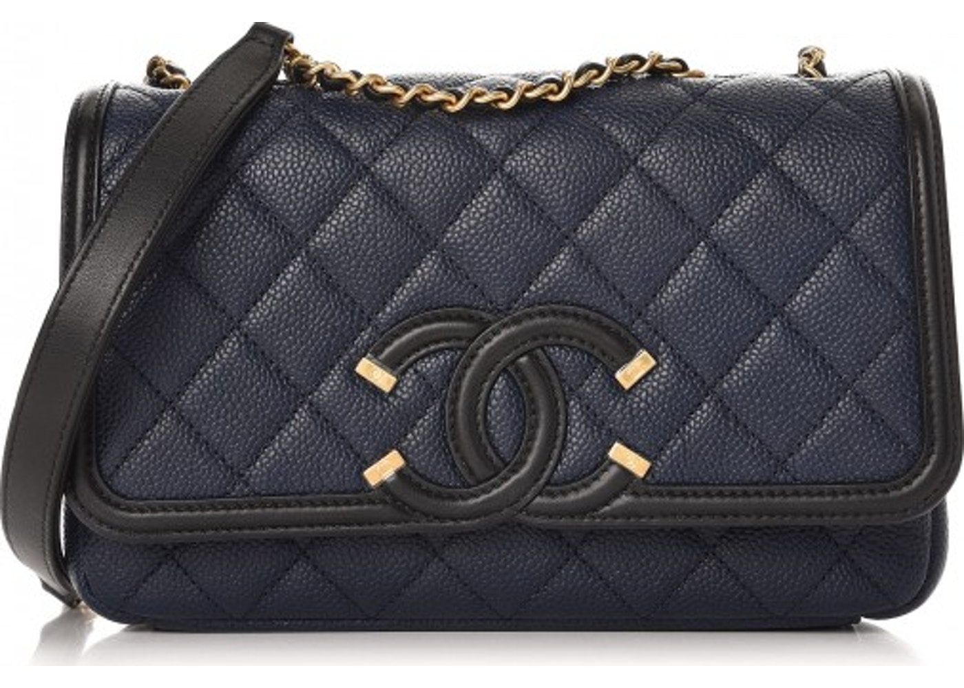 2866e818d968 Chanel CC Filigree Flap Quilted Caviar Gold-tone Small Navy/Black. Quilted  Caviar Gold-tone Small Navy/Black