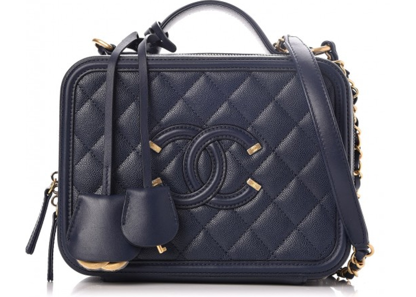 Chanel Cc Filigree Vanity Case Quilted Medium Navy Blue