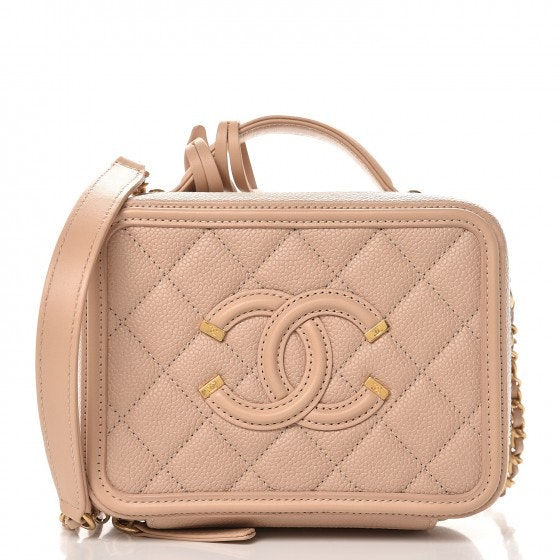Chanel CC Filigree Vanity Case Quilted Caviar Small Beige