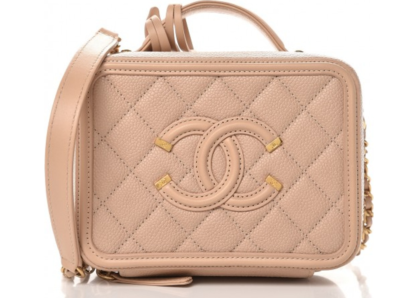 dbe56a88d0a9 Chanel CC Filigree Vanity Case Quilted Caviar Small Beige lowest ask