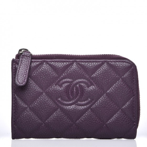 Chanel CC Key Holder Case Diamond Quilted Purple