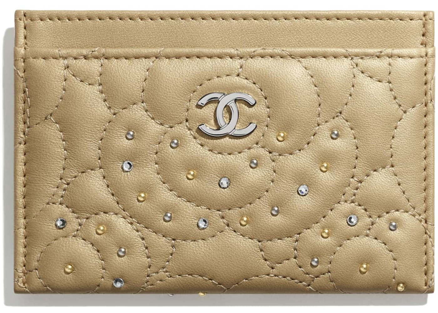 158a4dae34 Chanel Camellia Card Holder Studded Metallic Calfskin Silver/Gold ...