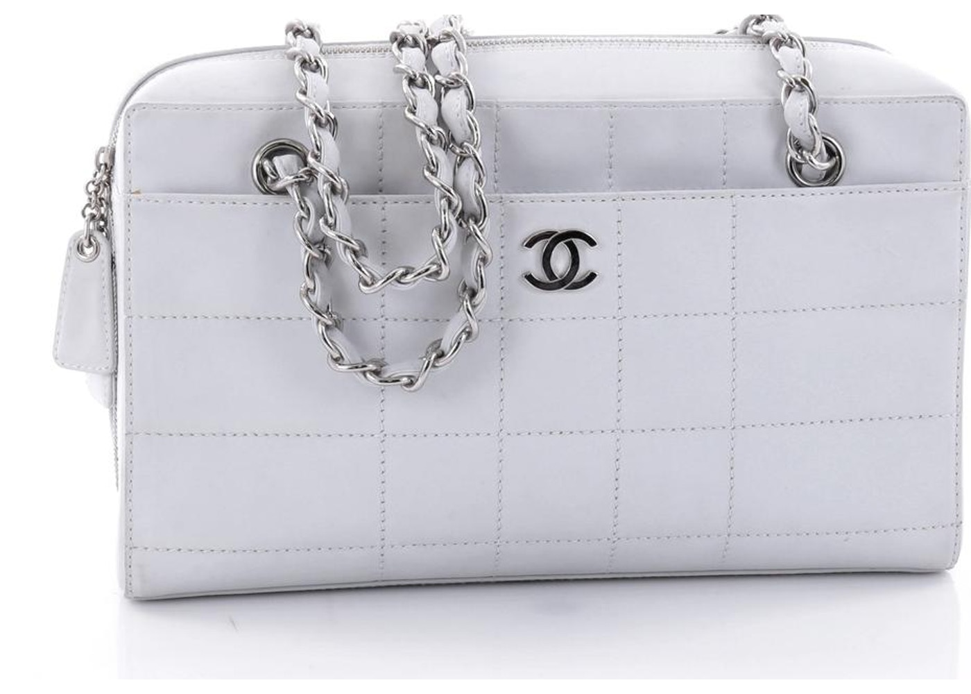 899003863979 Chanel Chocolate Bar CC Camera Bag Quilted Medium Light Blue. Quilted  Medium Light Blue