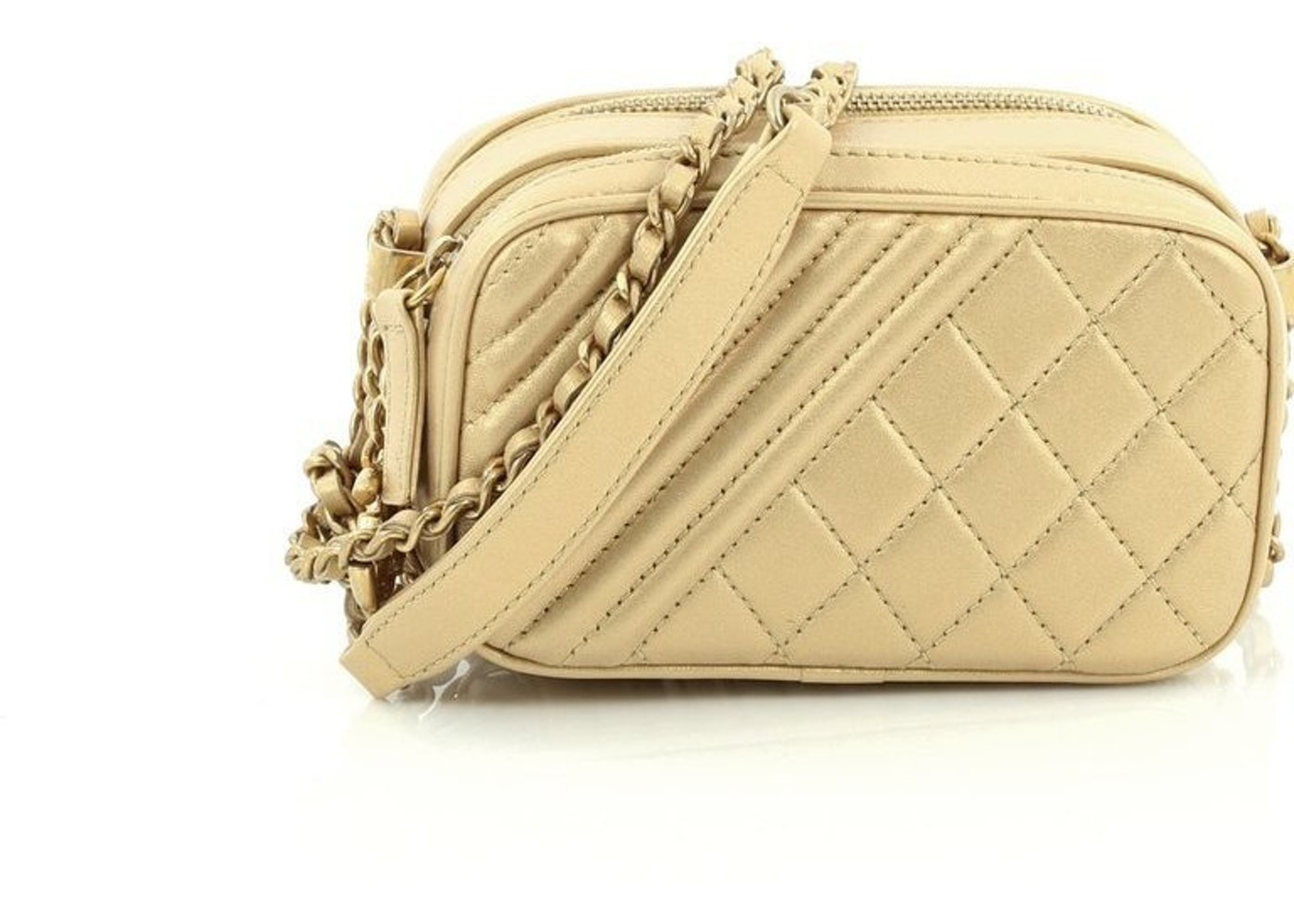 01ecadc6d010a9 Chanel Camera Bag Coco Boy Quilted Metallic Mini Gold. Coco Boy Quilted  Metallic Mini Gold