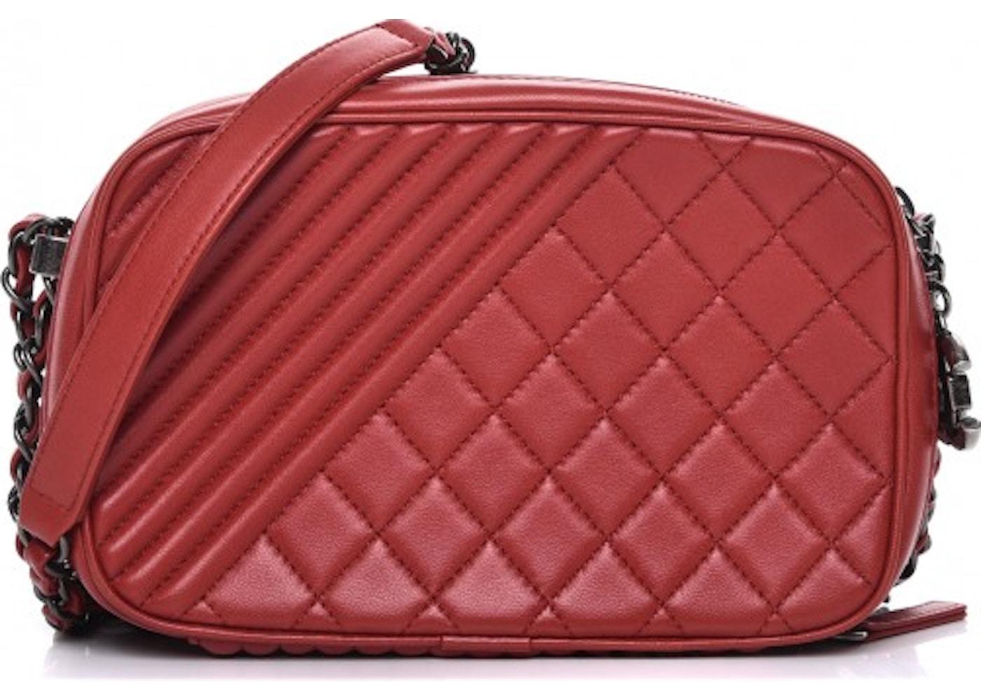 d0c5cf92ed2faa Chanel Coco Boy Camera Case Quilted Diamond Small Red. Quilted Diamond  Small Red
