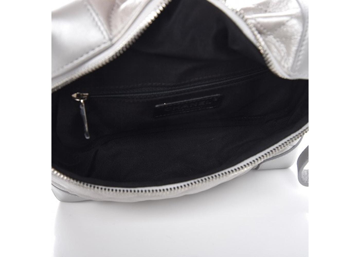 4f90e07179e Chanel Camera Case Quilted Metallic Calfskin Silver-tone Silver