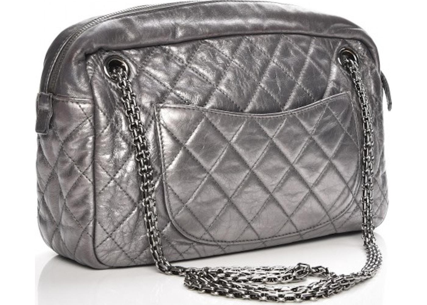 df982fc47112 Chanel Reissue Camera Case Quilted Diamond Metallic Medium Dark Silver