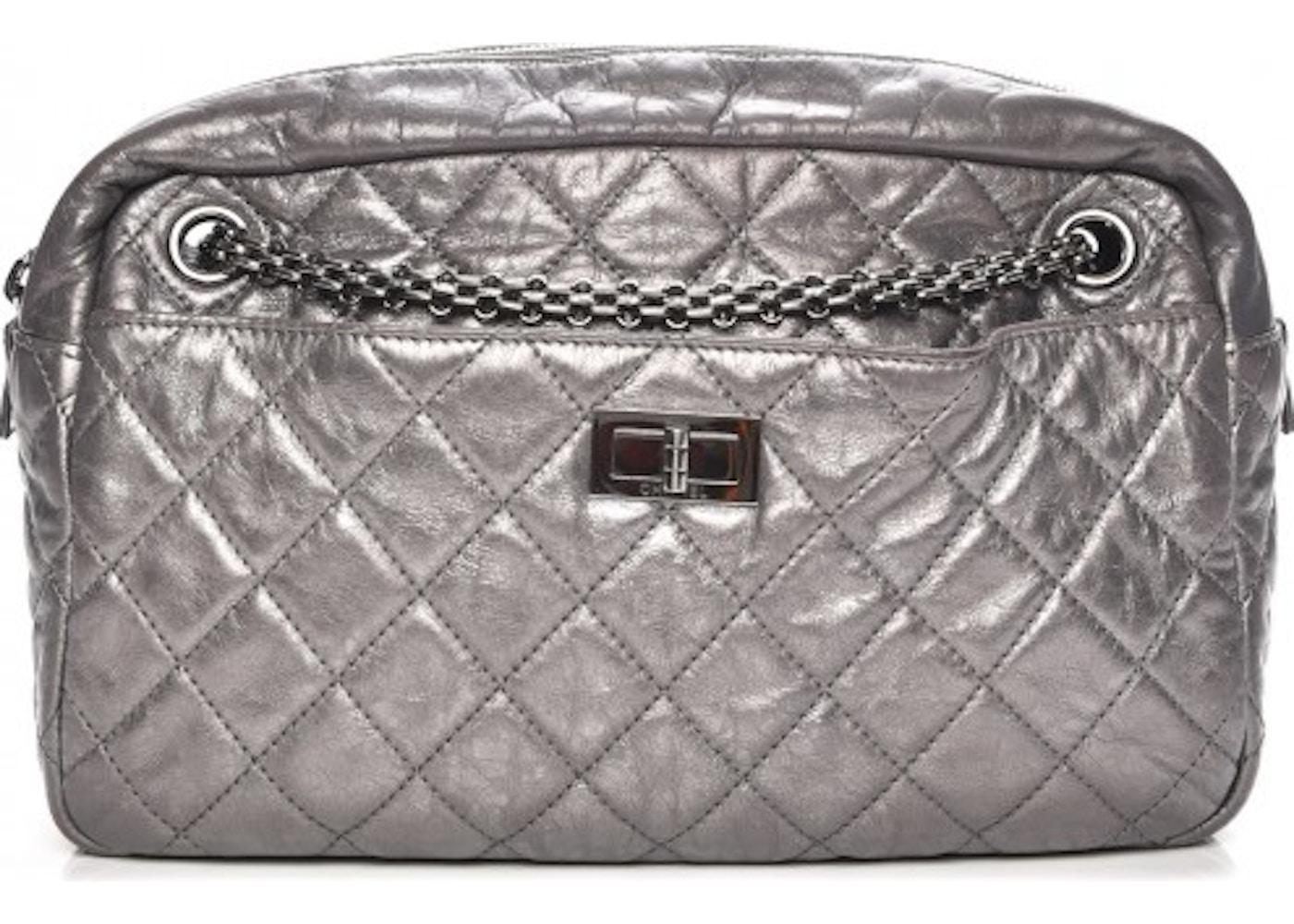39675fbf3d59 Chanel Reissue Camera Case Quilted Diamond Metallic Medium Dark Silver.  Quilted Diamond Metallic Medium Dark Silver