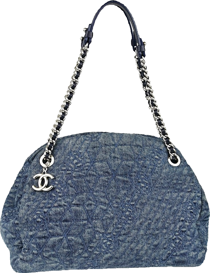 Chanel Camillia Just Mademoiselle Bowler Embossed Large Blue