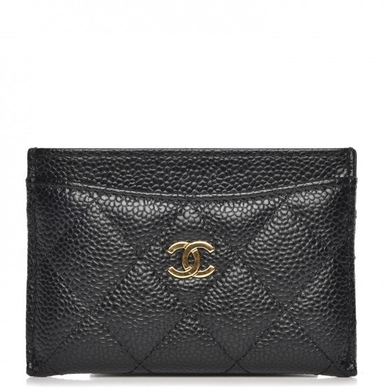 Chanel CC Card Holder Diamond Quilted Black