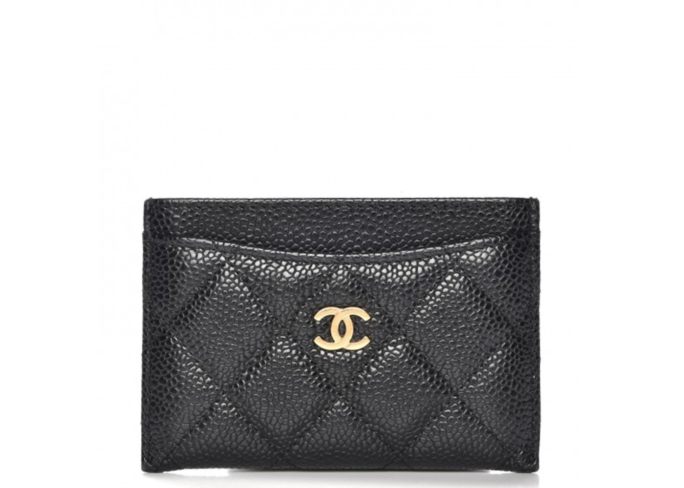 1874212d Chanel CC Card Holder Quilted Diamond Caviar Gold-tone Black