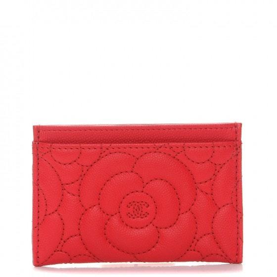 Chanel Card Holder Camellia Embossed Red