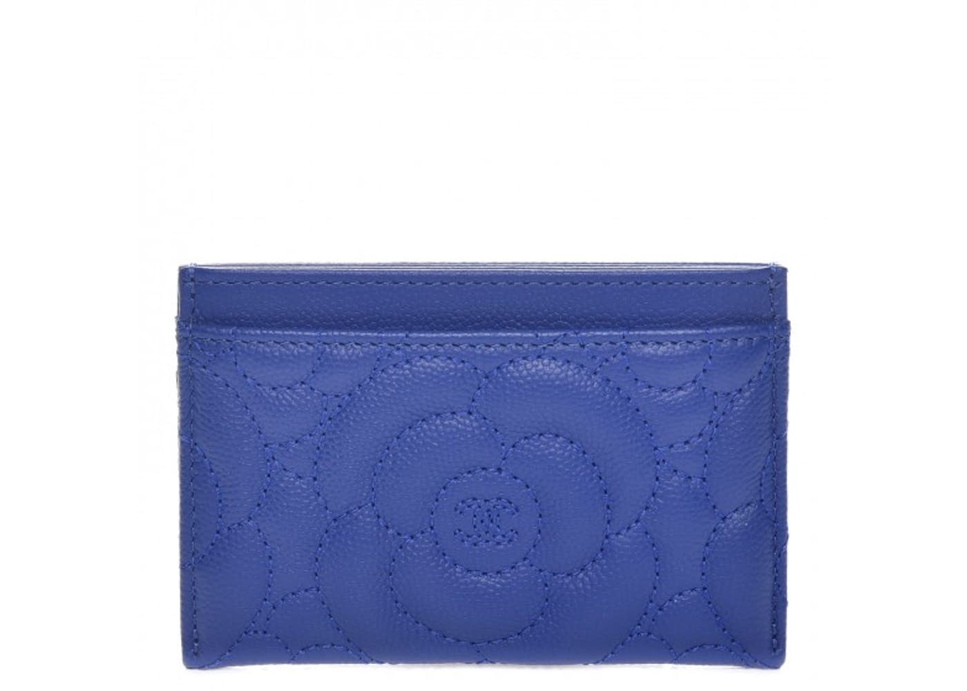 Chanel Card Holder Quilted Camellia Blue
