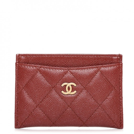 Chanel Card Holder Quilted Diamond Burgundy