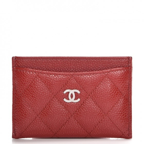 Chanel Card Holder Quilted Diamond Red