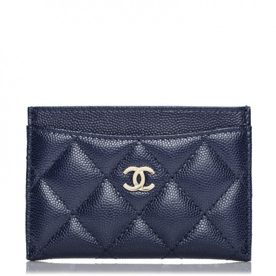 Chanel Card Holder Quilted Diamond Navy Blue