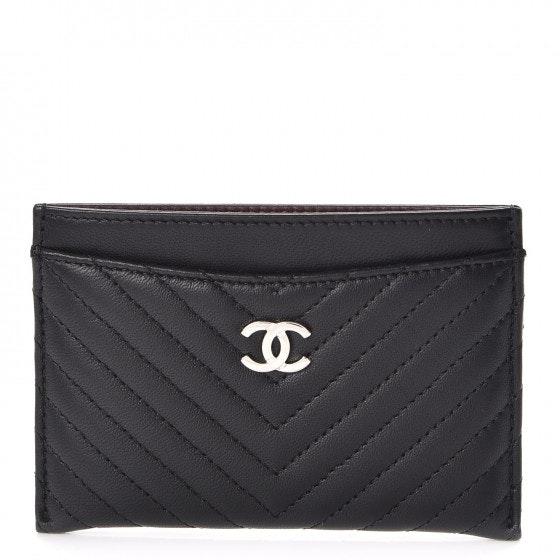 Chanel Card Holder Quilted Chevron Lambskin Black/Burgundy