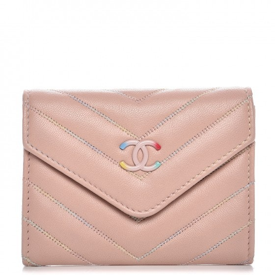 Chanel Card Holder Quilted Chevron Light Pink