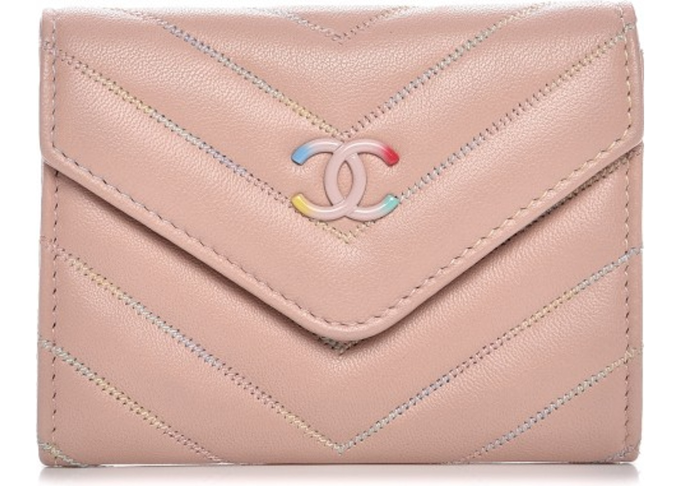 7cebfd2cc126 Chanel Card Holder Quilted Chevron Light Pink. Quilted Chevron Light Pink