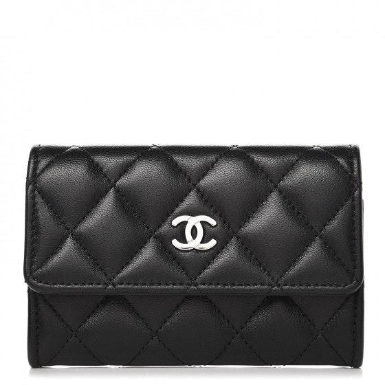 Chanel Card Holder Quilted Diamond Lambskin Black/Burgundy
