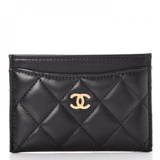 Chanel Card Holder Quilted Diamond Lambskin Black