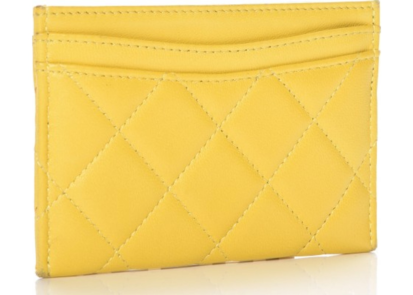cb17dfa20905 Chanel CC Card Holder Quilted Diamond Yellow